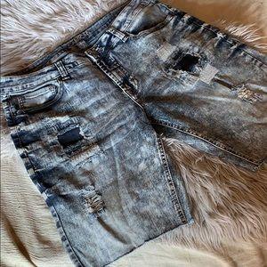 Carbon jean cut off shorts